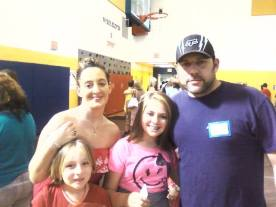 My girls father, Trent who lives in N.C. with my girls and I at Madison's 5th grade graduation. May 30, 2013