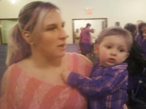 My goddaughter and her son in church on Christmas 2012.