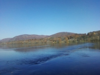 What happens to be my favorite place in the summer, the river,also is my favorite place in the fall. The view of these mountains are in the ;next county over, Montgomery County, home to VA. Tech.