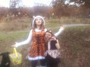 Madi was a tiger and Liv was a leopard.