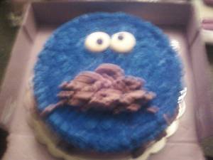My 11 year old, Madison, chose this Cookie Monster cake. A dear friend I graduated with makes these cakes.  I'll let the picture speak for her talent.